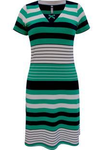 Vestido Pau A Pique Listrado Verde