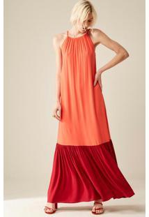Vestido Bicolor Laranja
