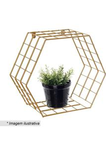 Cubo Hexagonal Decorativo- Dourado- 28X32X15Cm- Metaltru