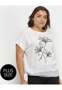 Blusa City Lady Plus Size Amarração Feminina - Feminino-Branco