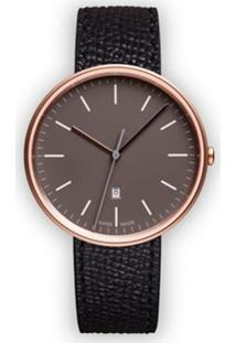 Uniform Wares Relógio 'M38 Date' De Couro E Aço Inoxidável - Preto