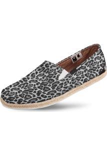 Alpargata Usthemp Corda Vegano Casual Estampa Leopard Cinza