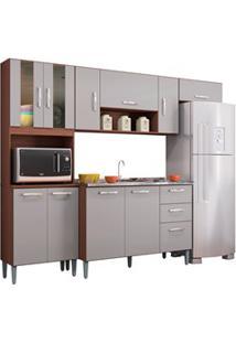 Cozinha Compacta 8 Portas Com Balcão E Pia Inox Lavínia Capuccino/Off