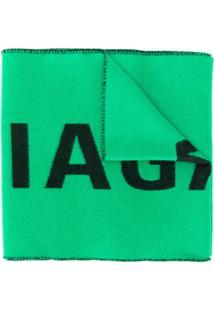 Balenciaga Cachecol Com Logo - Verde