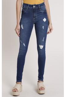 Calça Jeans Sawary Skinny Pull Up Cintura Alta Destroyed Azul Escuro