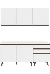 Cozinha Reims Branco Balcão 5 Portas 3 GavetasMadesa