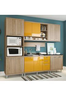 Cozinha Completa Com Balcão Sem Tampo 6 Peças 12 Portas Sicília Multimóveis Argila/Amarelo