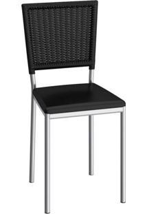 Cadeira De Aço Boston C150 Compoarte Cromado/Preto