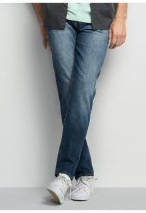 Calça Jeans Masculina Slim Em Algodão Com Bolsos