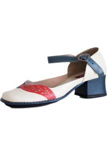 Sapato Boneca J.Gean Salto Grosso Quadrado Estilo Retrô Vintage Areia