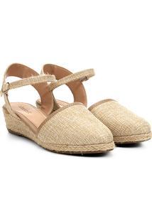 Sandália Anabela Shoestock Espadrille Linho Feminina - Feminino-Bege