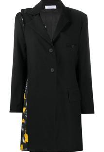 Delada Blazer Com Abotoamento Simples E Recorte Contrastante - Preto
