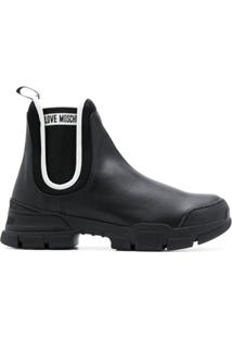 Love Moschino Ankle Boot Com Acabamento De Pelo - Preto