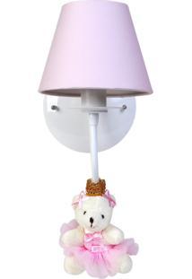 Arandela 1 Lâmpada Ursinha Princesa Bebê Infantil Menina Potinho De Mel Rosa