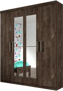 Guarda Roupa Olimpo 4 Portas Com Espelho Cumaru Rustic