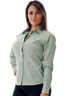 Camisa Pimenta Rosada Poá Erika Verde Claro