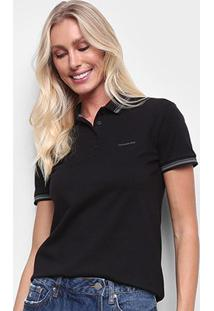Camisa Polo Calvin Klein Slim Feminina - Feminino-Preto