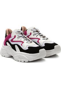 Tênis Zatz Chunky Recortes Feminino - Feminino-Branco+Pink