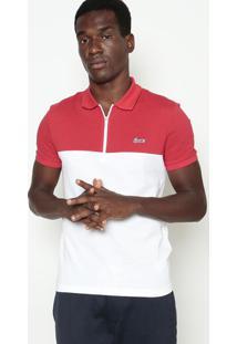 Polo Slim Fit Em Piquê- Branca & Vermelhalacoste