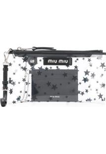 Miu Miu Clutch Transparente Com Estrela - Neutro