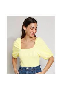 Blusa De Jacquard Feminina Estampada Xadrez Vichy Manga Bufante Decote Reto Amarela Claro