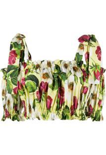 Dolce & Gabbana Blusa Cropped Com Estampa De Rosas - Amarelo