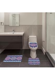 Jogo De Banheiro Mandala Azul Único
