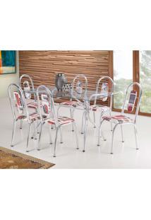Conjunto De Mesa De Cozinha Com 6 Cadeiras Fusion London Vermelho