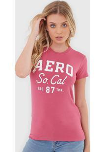 Camiseta Aeropostale Lettering Rosa - Rosa - Feminino - Viscose - Dafiti