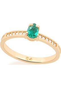 Anel Com Zircônias E Pedra Esmeralda Rommanel - Feminino-Verde
