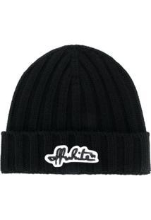 Off-White Logo Patch Beanie Hat - Preto