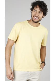 Camiseta Masculina Estampada De Folhagem Manga Curta Gola Careca Amarela