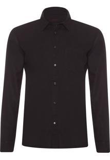 Camisa Masculina Linen & Rib - Preto