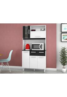 Cozinha Compacta 5 Portas Ellen Branco/Preto - Lc Móveis