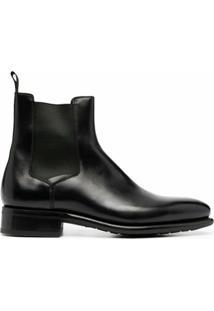 Santoni Ankle Boot De Couro - Preto