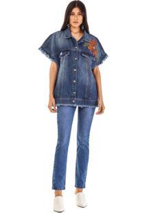 Colete Morena Rosa Amplo Detalhe Patch Jeans