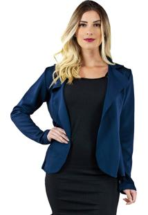 Casaco Blazer Bravaa Modas Jaqueta Formal 323 Azul Marinho