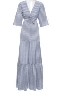 Vestido Longo Listrado - Cinza
