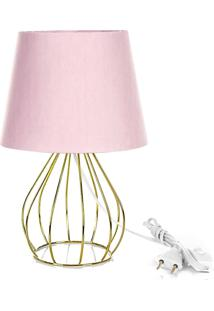Abajur Cebola Dome Rosa Com Aramado Dourado - Rosa - Dafiti