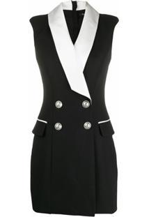 Balmain Vestido Blazer Com Abotoamento Duplo - Preto