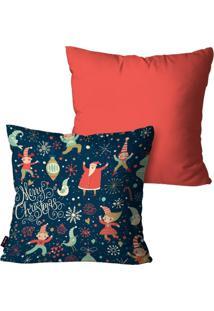 Kit Com 2 Capas Para Almofadas Pump Up Decorativas Natalinas Papai Noel Crianças Rosa 60X60Cm