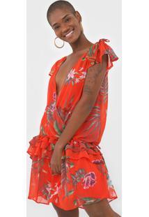 Vestido Desigual Curto Floral Laranja