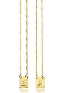 Escapulário Banhado A Ouro Sagrado Coração Semijoia Lys Lazuli - Unissex