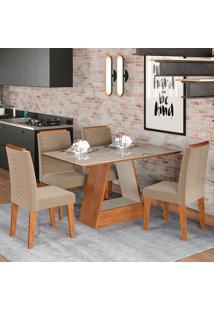 Conjunto De Mesa Alana 1,30Cm Para Sala De Jantar Com 4 Cadeiras Clarice-Cimol - Savana / Offwhite / Joli