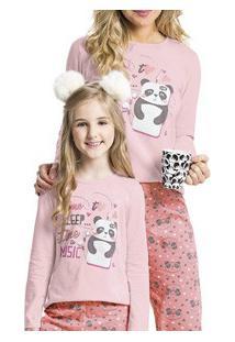 Pijama Adulto Longo Panda Malwee Liberta (1000052508) 100% Algodão