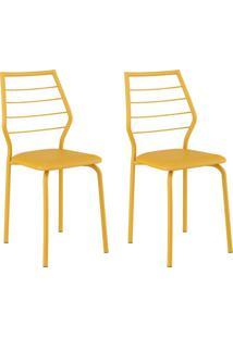 Conjunto 2 Cadeiras 1716 Casual Napa Amarelo Ouro Amarelo Ouro