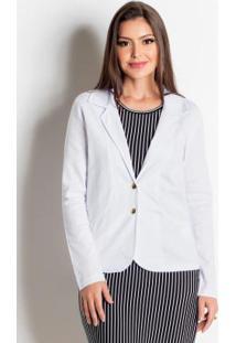 Blazer Branco Em Sarja Moda Evangélica
