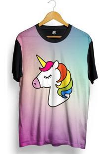 Camiseta Bsc Unicorn Tie Dye Full Print - Masculino-Preto