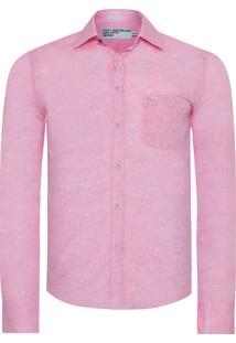Camisa Masculina Linho Color - Rosa