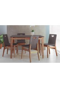 Sala De Jantar Com Mesa E 4 Cadeiras Tucupi 120Cm - Acabamento Stain Nozes E Grafite